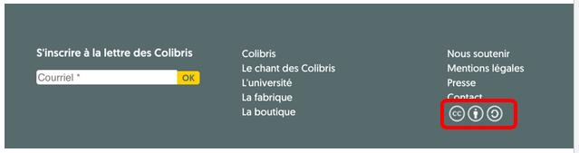 Pictogramme Creative Commons Footer Université Colibris